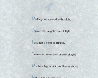 Baby Boy Name Poem - see your child's name in print. We compose original name poetry, makes for any gift-giving occasion.