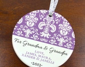 For Grandma & Grandpa Christmas Ornament - Damask Pattern - Personalized Porcelain Holiday Grandparents Gift- orn123- Peachwik- Custom Color