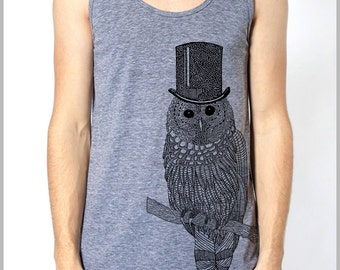 Unisex Men's Women's Tank Top OWL with Tophat American Apparel Athletic Grey