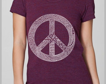 Women's Peace Symbol T Shirt  American Apparel Tee S, M, L, XL 8 COLORS