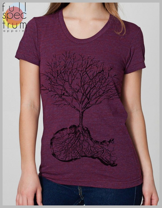 Graphic Tee American Apparel Women's T Shirt Dust Shirt Nature Tree Bird Shirt S, M, L, XL 8 COLORS