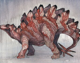 Stegosaurus | Watercolor | Archival Print