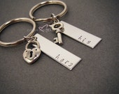 His Hers Keychains, Gift for her, Anniversary Gift, Lock Key, Couple Keychain,Bar Keychains, Couples Gift, Stamped keychains,Valentines Gift