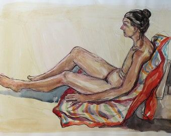 Reclining Nude - Original Watercolour painting