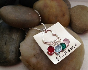 Personalized Grandma Birthstone Necklace - The Charmed Wife - Custom Hand Stamped Jewelry - Mother's Day Gift Ideas - Gifts for Her - Mom