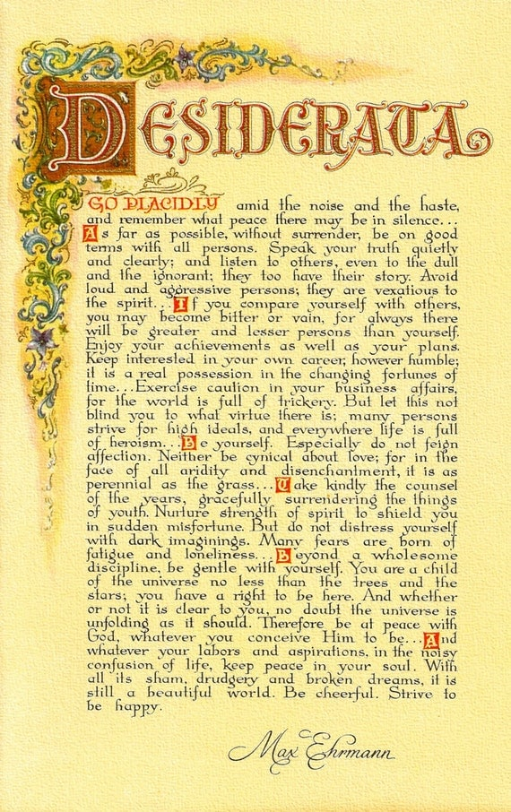 Decisive image for desiderata printable