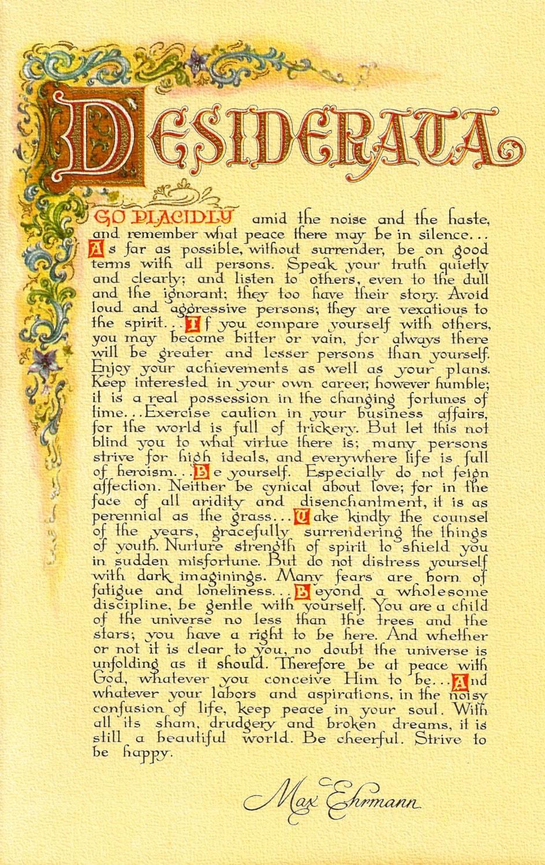 Desiderata Poem 11 X 17 Poster Antique Florentine Style