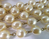 2 Ft Vintage 10mm Ivory Faux Baroque Pearl Chain Ch195