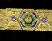 Vintage Art Deco Multistrand Sterling Silver & Enamel Bracelet - 34 grams