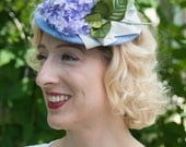 """Hat 1940s Tilt Perch Doll Hat Fascinator in Lilac  """"Beatrice"""""""