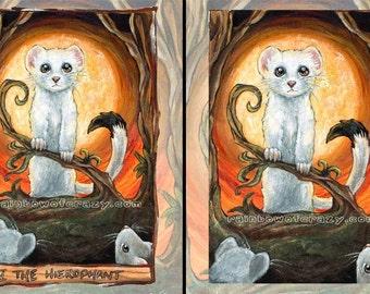 Ferret Art Print, White Stoat, Hierophant Tarot Card, Pet Decor, Weasel Print, Orange Sky, Animism Tarot Deck