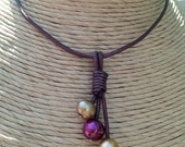 Garnet & Gold FRESHWATER Pearl and Metallic Brown Leather Tassel Necklace - FSU - Seminoles - Noles - Round Pearl - Any Size - USA Seller