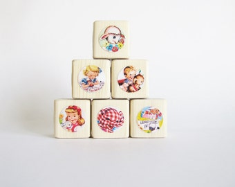 Baby Shower Decor. Retro Nursery. Toy. Baby. Children. Easter gift Under 30 for kids. Set of Wood Baby Blocks.  NEW BABY.  Vintage Kids.