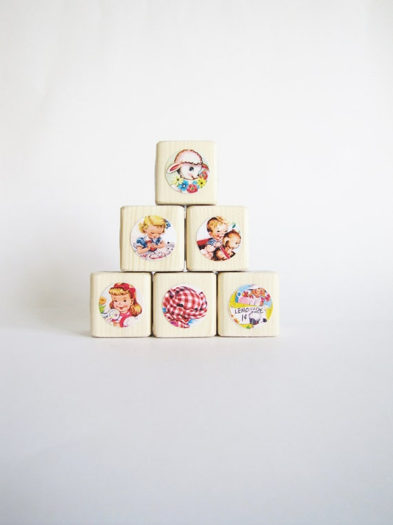 Baby Shower Decor. Retro Nursery. Toy. Baby. Children. Under 30 gift for kids. Set of Wood Baby Blocks.  NEW BABY.  Vintage Kids.