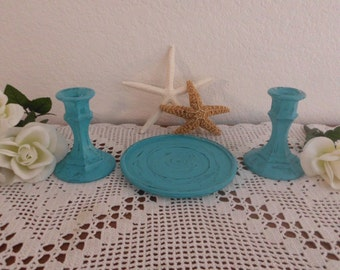 Wedding Unity Candle Holder Set Aqua Turquoise Teal Blue Rustic Shabby Chic Distressed Beach Cottage Tropical Island Coastal Seaside Decor
