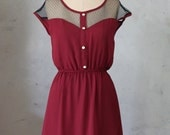 PETIT DEJEUNER PORT - Vintage inspired dark red chiffon dress // day // burgundy // party // bridesmaid // valentines // holiday // lace