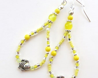 BUZZING BEAUTIES- Beaded Dangle Earrings with Tibetan Silver Bees and Crystals- Silver Plated Ear Wires