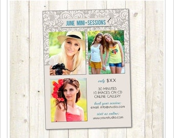 5x7 Mini Session Template, Marketing Template, PSD Photoshop Template (MA201) INSTANT DOWNLOAD