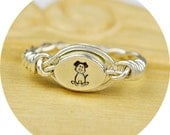 REVERSIBLE Any Monogram and Dog Ring-Sterling Silver Filled Wire Wrap with Sterling Silver Bead-Any Size 4, 5, 6, 7, 8, 9, 10, 11, 12, 13,14