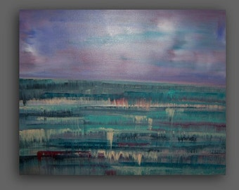 Lavender Aqua Teal Abstract Strawberry Mist  Ocean Seascape ,Land and Sea Painting .16x20x1, Sea at Dawn -Sherischart-Sheri Wilson
