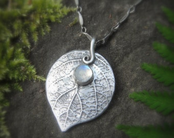Woodland Leaf Necklace With Moonstone - Made With a Real Leaf -  Silvan Leaf - Artisan Handcrafted with Recycled Silver - Forest - Elven