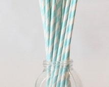 Baby Blue Straws Light Blue and White Stripe Paper Straws Pale Blue Party Supplies Baby Blue Drinking Straws Boy Baby Shower / Set of 20