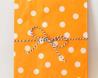 Orange Party Favor Bags Polka Dot Orange Goodie Bags Orange Party Supplies Gift Bags Orange Party Favors Treat Snack Bags // Set of 12