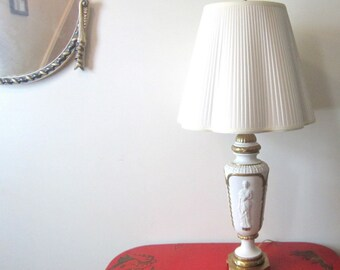 Hollywood Regency Neoclassical Greecian Gold White Lighting Roman Madians Ornate Lamp Home Decor  Boudroir Neoclassic Light Lamp