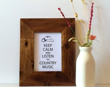 """5x7"""" Keep Calm and Listen to Country Music Print - Cowboy Hat Print - Western Decor - Southwest Decor - Black and White - Western Print"""