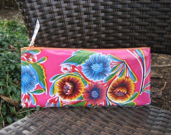 Zippered Oil Cloth Pouch-Pink Floral Cosmetic Bag--Purse Organizer--Pencil pouch