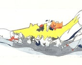 Caribou Drawing of Jaw Bone in Yellow—Watercolor/Mixed Media