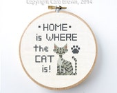 Home is Where the Cat is Cross stitch pattern Instant Download cute Mackerel