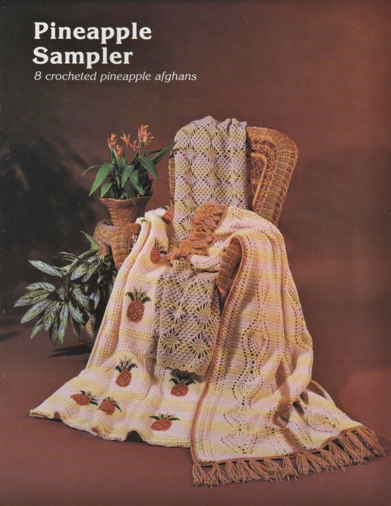 PDF Pattern - PINEAPPLE SAMPLER - 8 Crochet Afghan Patterns - Pineapple Theme - Instant Download - Free Shipping