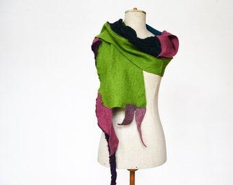 green violet wool shawl, scarf unique, hand knitted OOAK, soft felted wool, geometrical clotch, cozy patchwork winter scarf, wrap shrug 141
