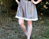 Silky Silver Pewter Lace Trim Circle Skirt // Size Medium