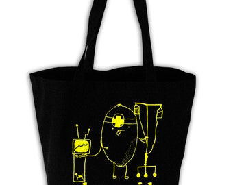 Lemonaid Black Canvas Grocery Tote Bag