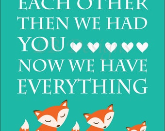 Orange and Teal Fox Nursery Quote Print - 8x10