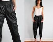 Vintage 80s High Waisted Black Leather Pants Biker Moto Harem