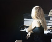 Original OIL painting on canvas woman in light with piano : Moonlight - JipeLeclercq