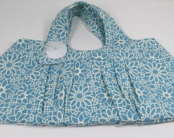 Purse, blue and white pleated