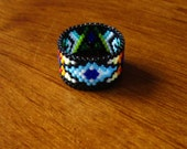 Rain Dreams Ring - Seed Beaded Peyote Stitch -  OOAK size 9.5
