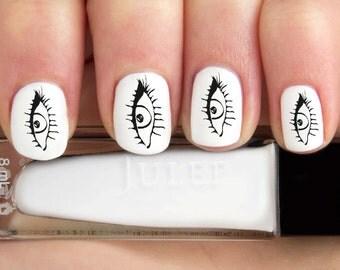 Black Outline Eye Eyelash Outline Nail Decals-24 ct.