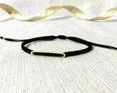 modern 14kt gold filled bar dainty cotton macramé friendship bracelet. big ber.