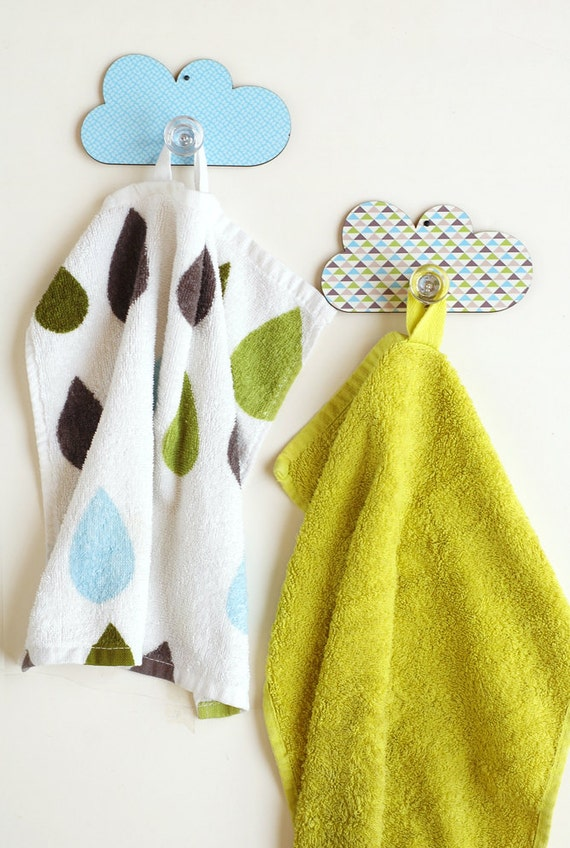 Set of 2 cloud wall hooks for children room bathroom wall - Kids decorative wall hooks ...