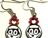 Felix the Cat Black and White Polymer Clay Earrings