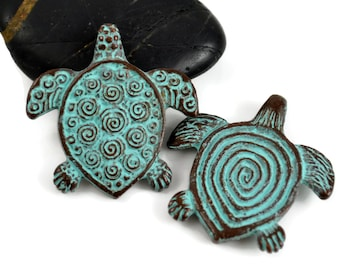 Mykonos Turtle Pendant - Green Patina Spiral Turtle - Double Sided Pendant