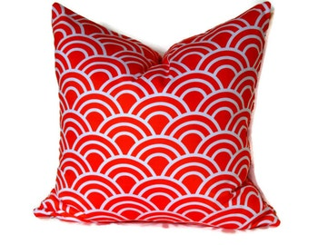 Trenna Travis Fabric,Decorative Pillow, Throw Pillow, Tangerine and White, Pillow Cover, Accent Pillow