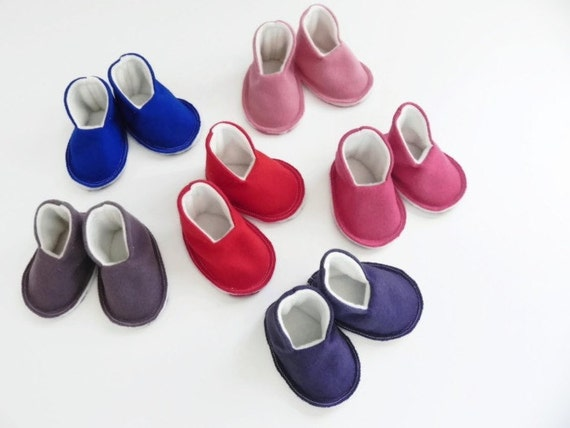 Pick Your Color - MINI HIGH TOPS Plain and Simple - Baby Booties - New Baby Gift - Felt Slippers - Shoes - 0-6 Months