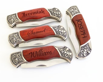 Set of 6 Engraved Groomsmen gifts Engraved Pocket Knife Rosewood DecoGrip Pocket Knife Fathers Day Gift Christmas gift Groomsman Gift