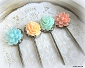 Floral Hair Pins Bridesmaids Turquoise Aqua Mint Green Peach Coral Pink Flower Pastel Colors Shabby Chic Wedding Flower Bobby Pin Set of 4